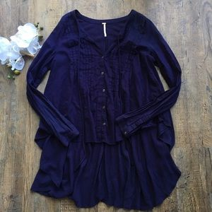 Free people navy blue high low button down tunic S